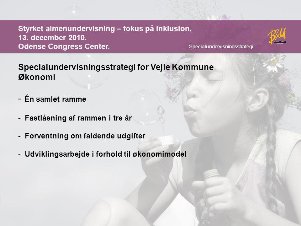 Én samlet ramme Specialundervisningsstrategi for Vejle Kommune Økonomi