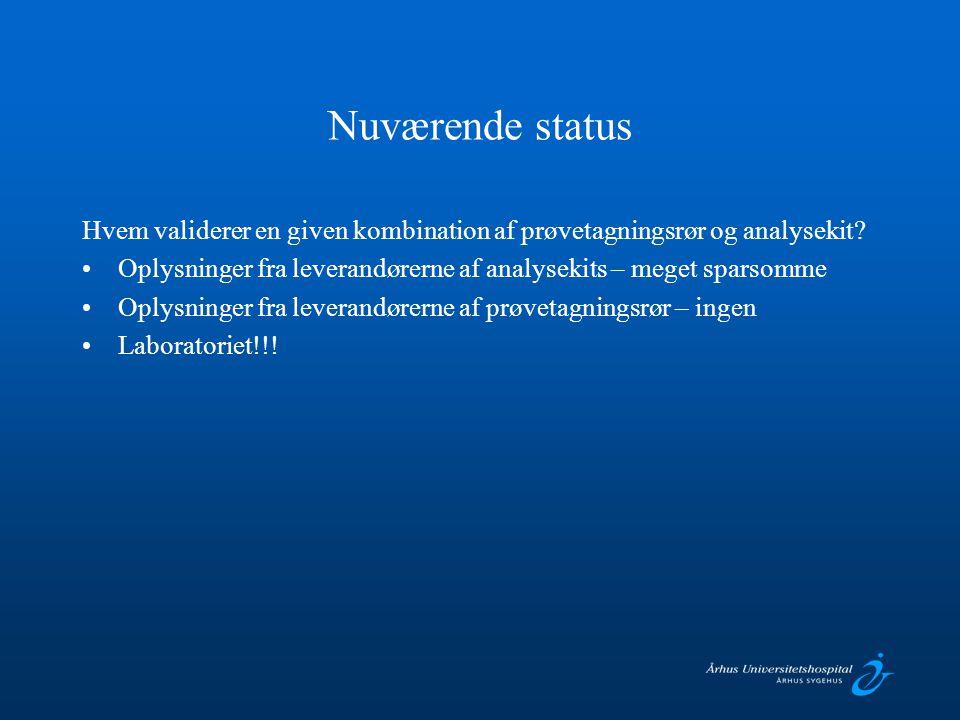 Nuværende status Hvem validerer en given kombination af prøvetagningsrør og analysekit