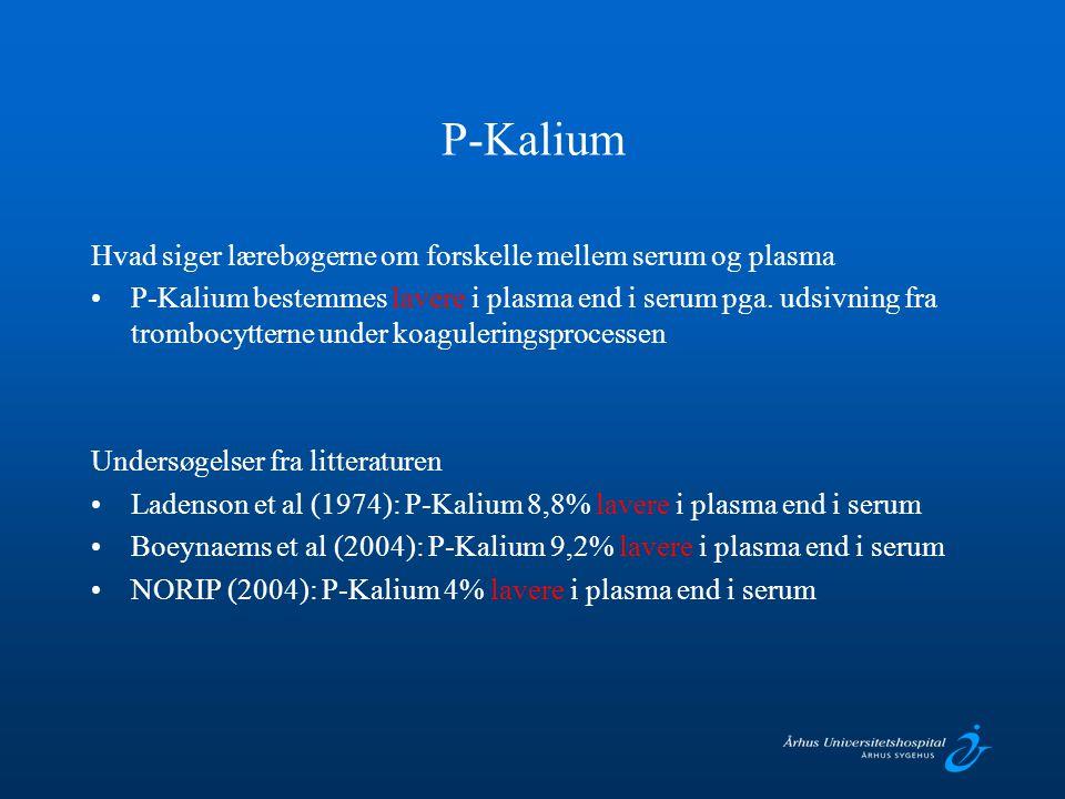 P-Kalium Hvad siger lærebøgerne om forskelle mellem serum og plasma