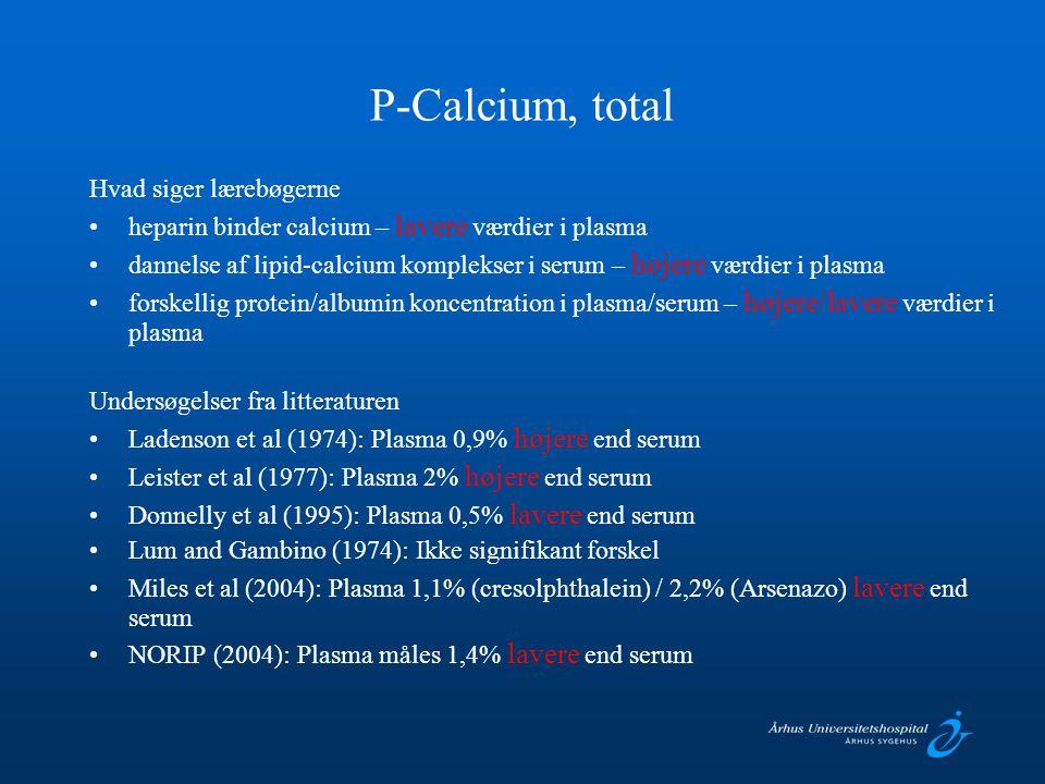 P-Calcium, total Hvad siger lærebøgerne