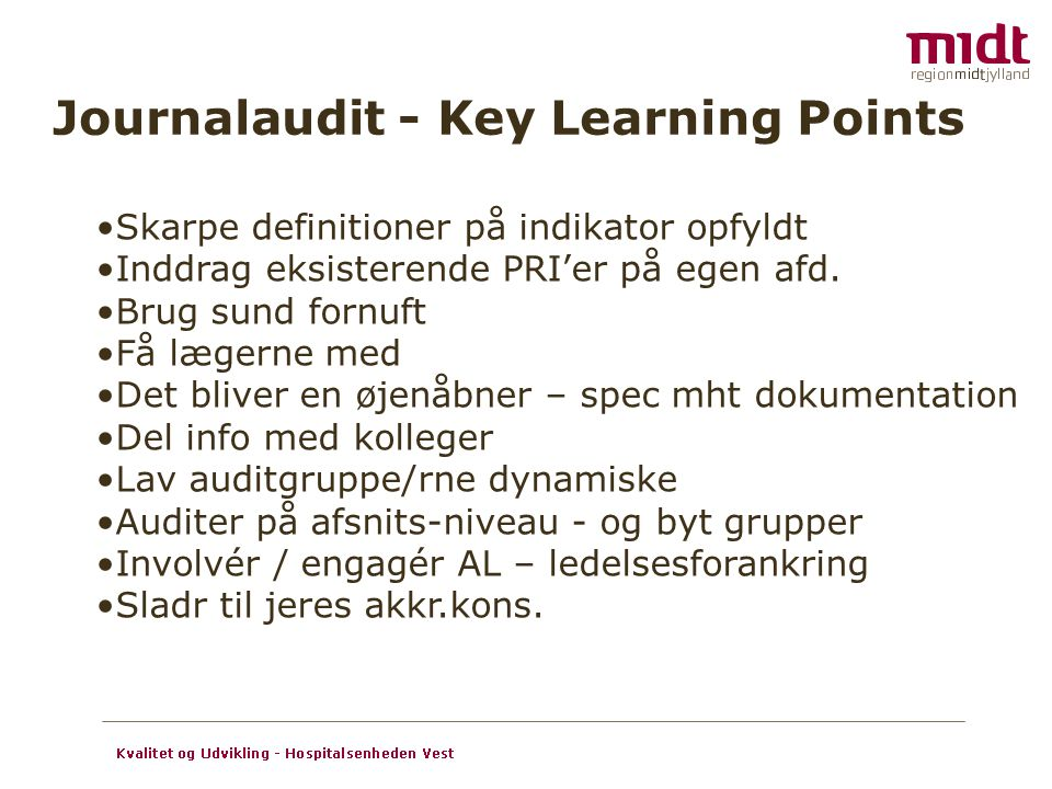 Journalaudit - Key Learning Points