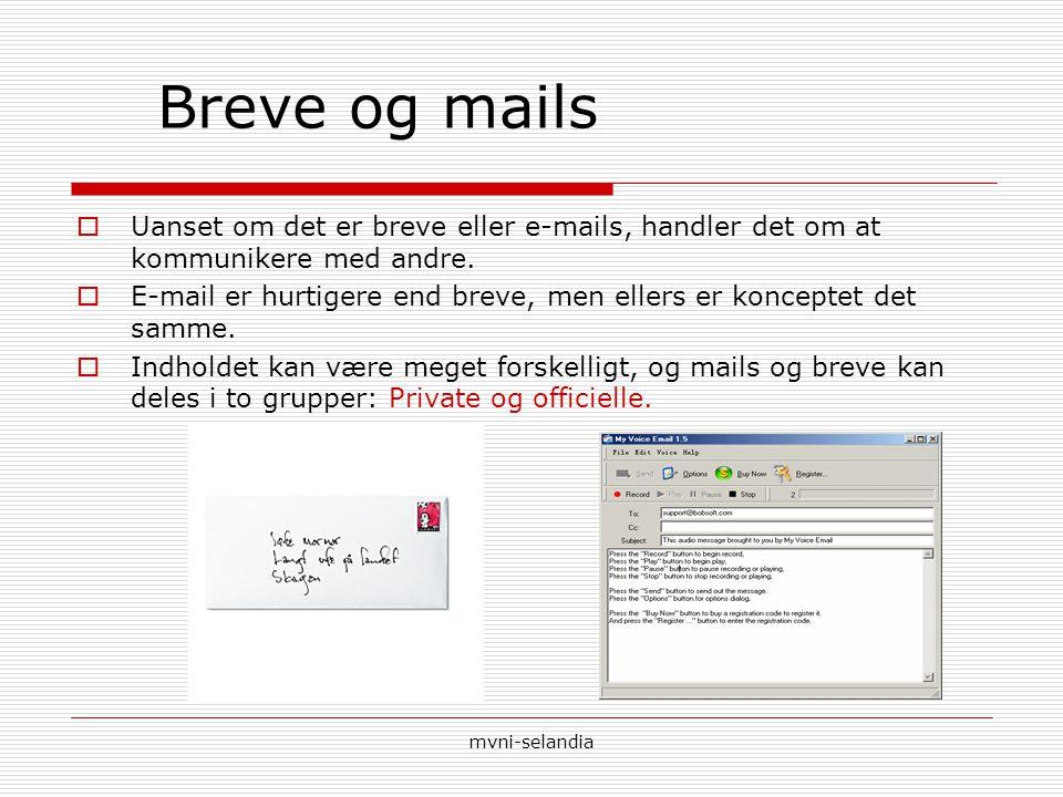 Breve og mails Uanset om det er breve eller e-mails, handler det om at kommunikere med andre.