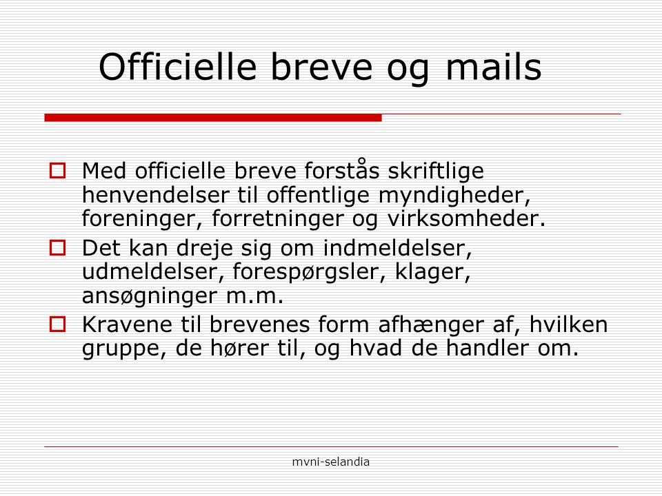 Officielle breve og mails