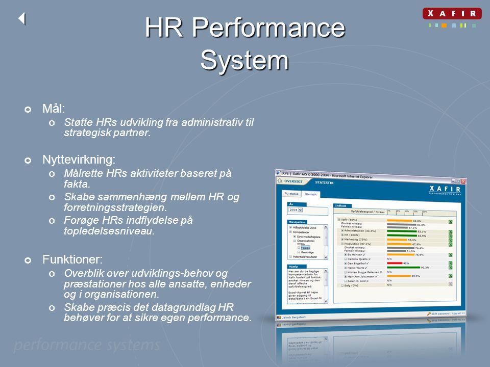HR Performance System Mål: Nyttevirkning: Funktioner: