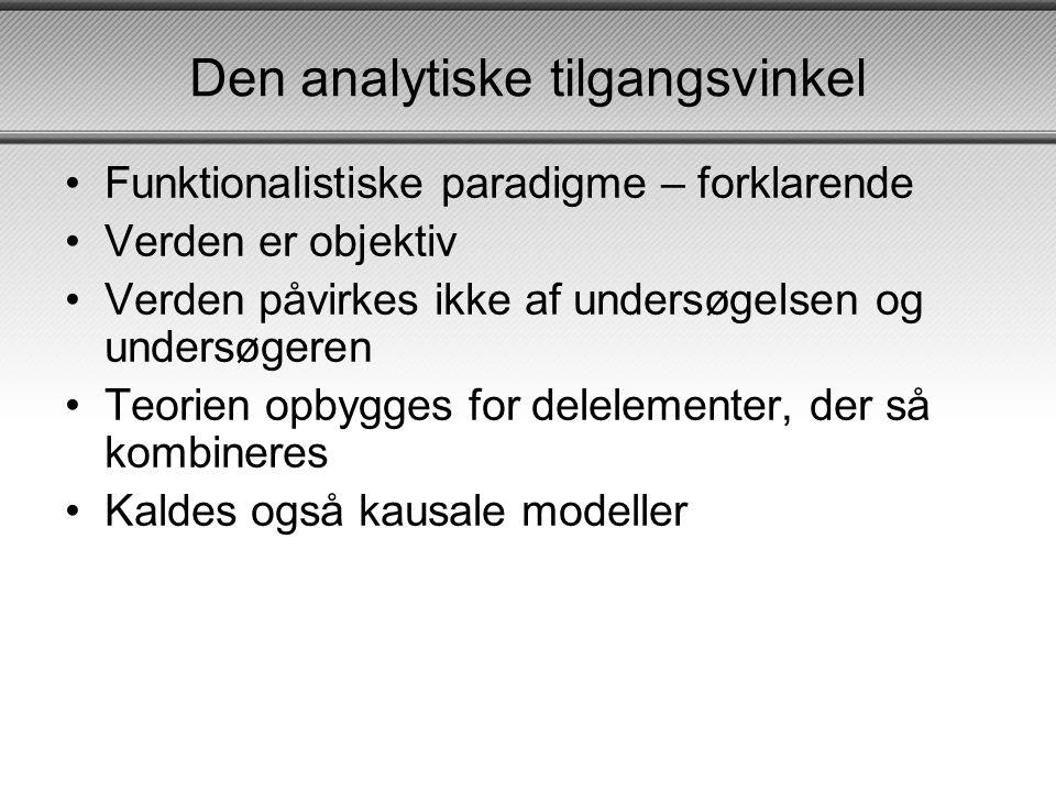 Den analytiske tilgangsvinkel