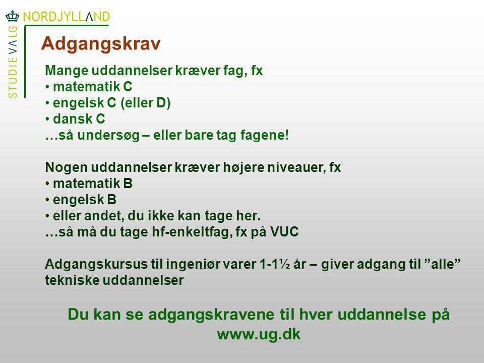 Du kan se adgangskravene til hver uddannelse på www.ug.dk