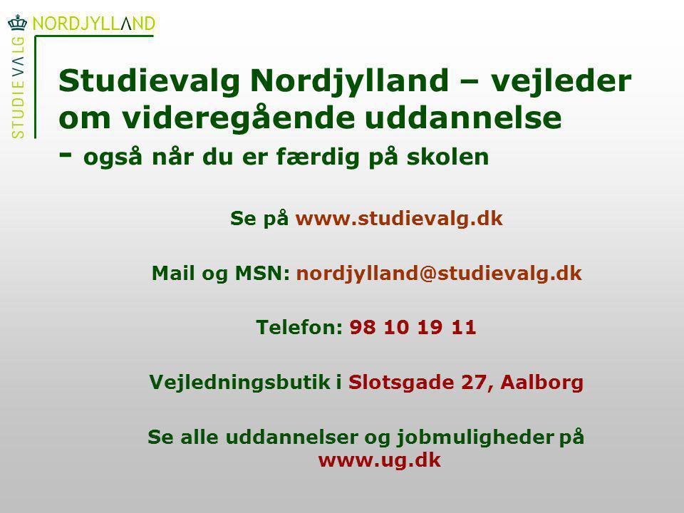 Studievalg Nordjylland – vejleder om videregående uddannelse - også når du er færdig på skolen