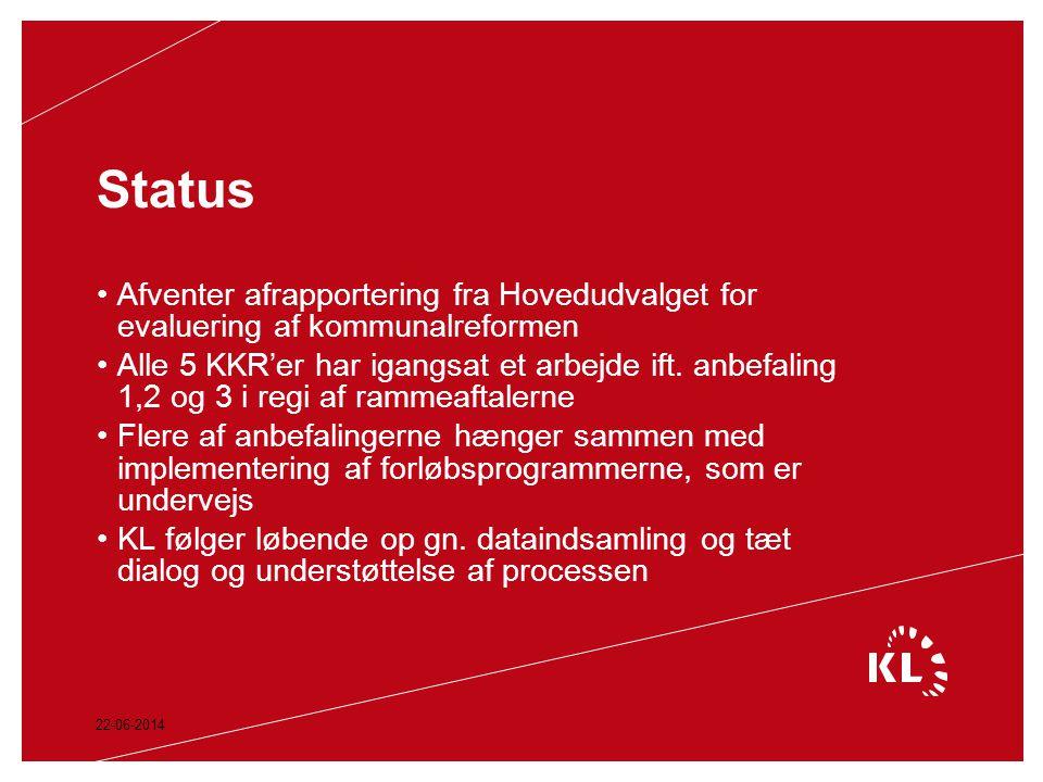 Status Afventer afrapportering fra Hovedudvalget for evaluering af kommunalreformen.