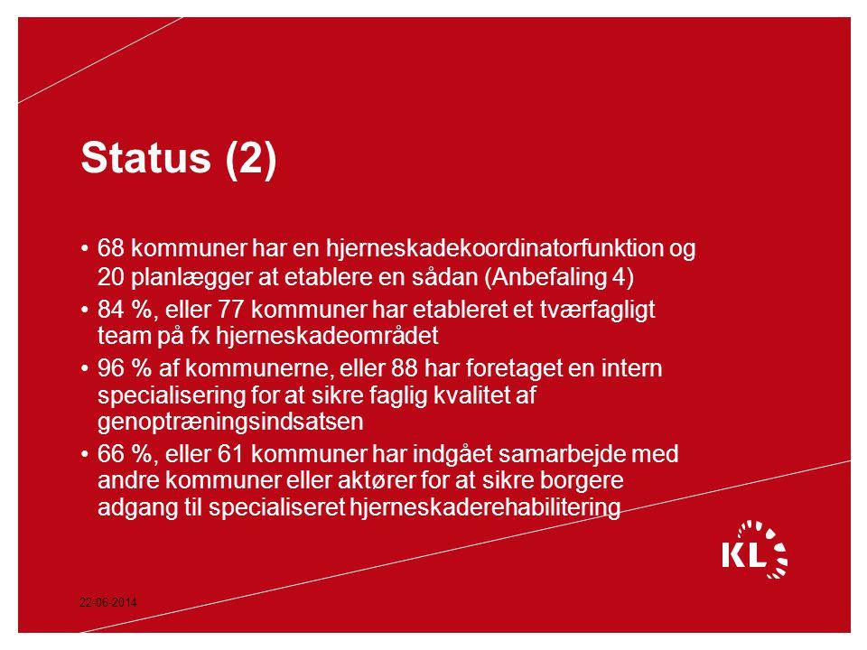 Status (2) 68 kommuner har en hjerneskadekoordinatorfunktion og 20 planlægger at etablere en sådan (Anbefaling 4)