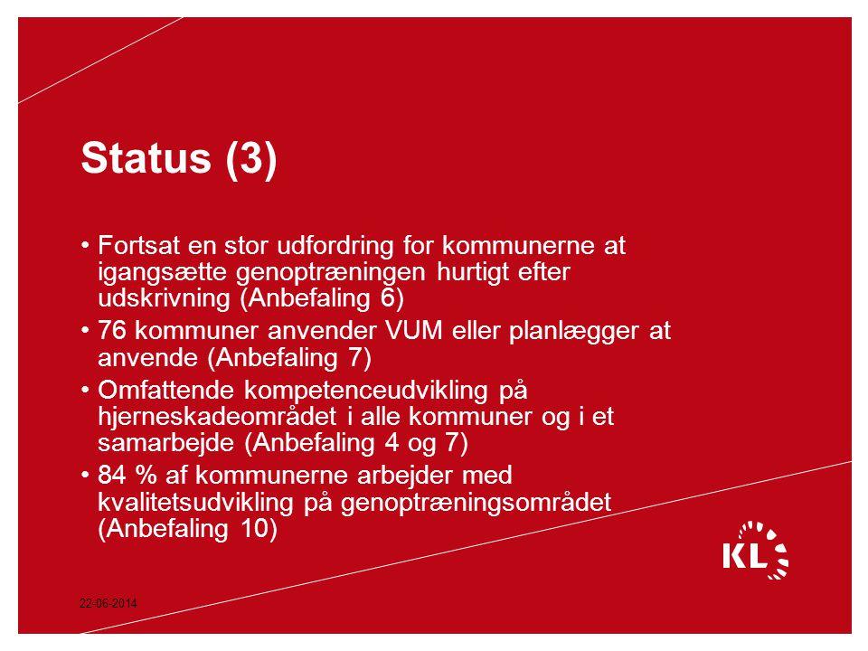 Status (3) Fortsat en stor udfordring for kommunerne at igangsætte genoptræningen hurtigt efter udskrivning (Anbefaling 6)