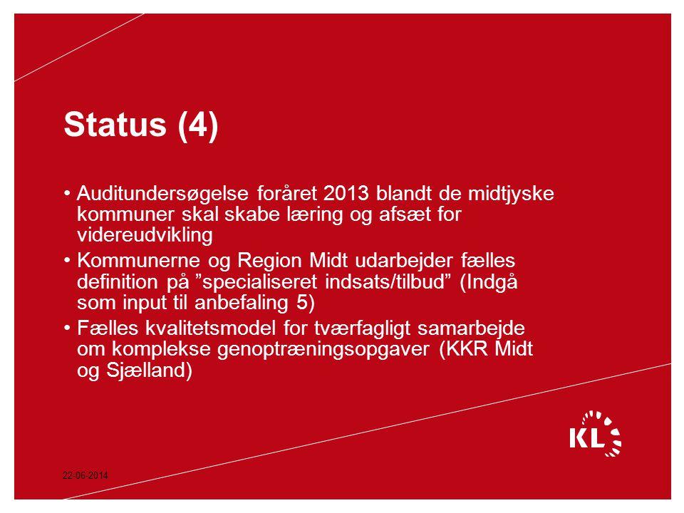 Status (4) Auditundersøgelse foråret 2013 blandt de midtjyske kommuner skal skabe læring og afsæt for videreudvikling.