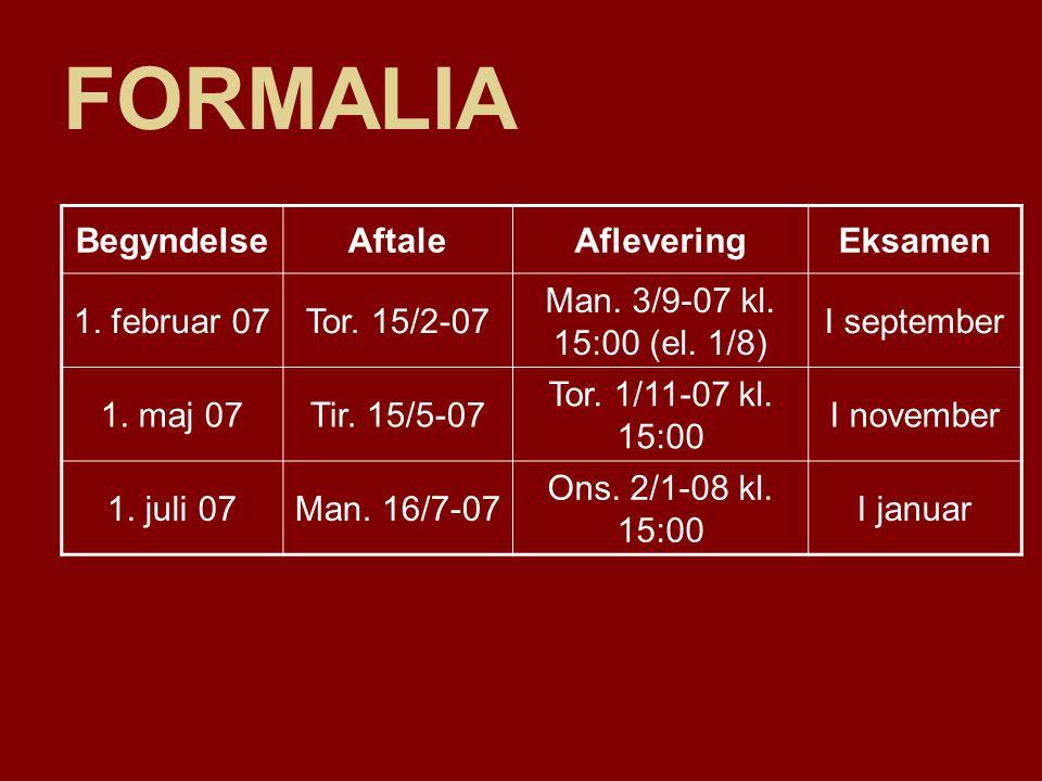 FORMALIA Begyndelse Aftale Aflevering Eksamen 1. februar 07