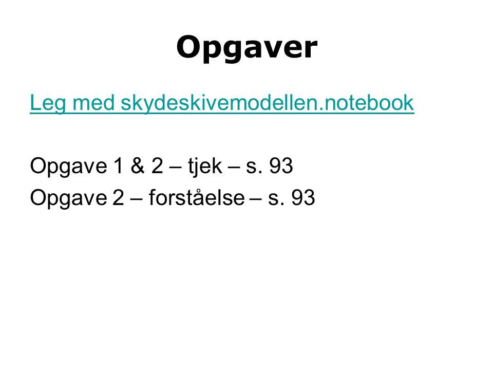 Opgaver Leg med skydeskivemodellen.notebook Opgave 1 & 2 – tjek – s.