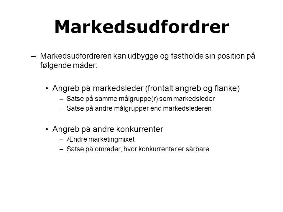 Markedsudfordrer Angreb på markedsleder (frontalt angreb og flanke)