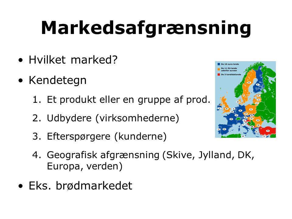Markedsafgrænsning Hvilket marked Kendetegn Eks. brødmarkedet