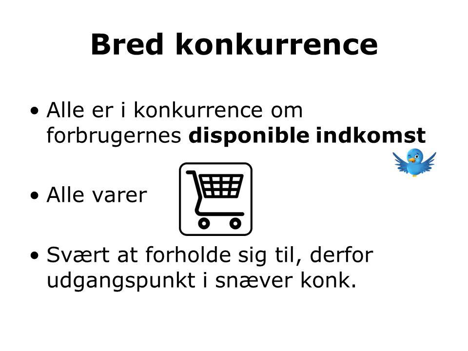 Bred konkurrence Alle er i konkurrence om forbrugernes disponible indkomst. Alle varer.