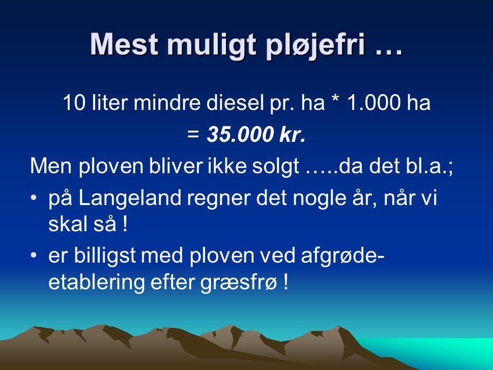 10 liter mindre diesel pr. ha * 1.000 ha