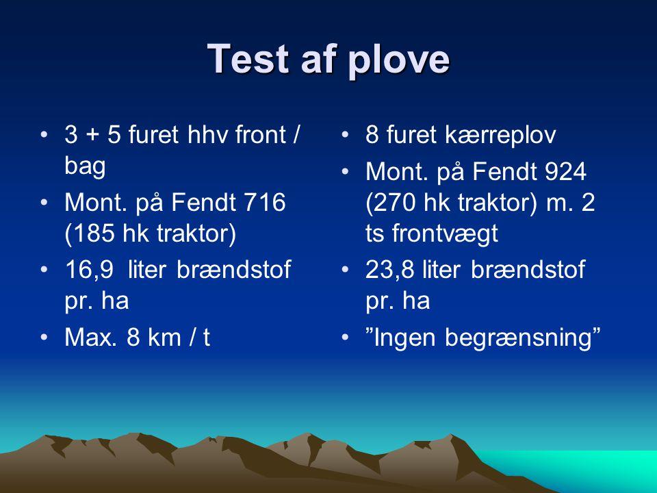 Test af plove 3 + 5 furet hhv front / bag