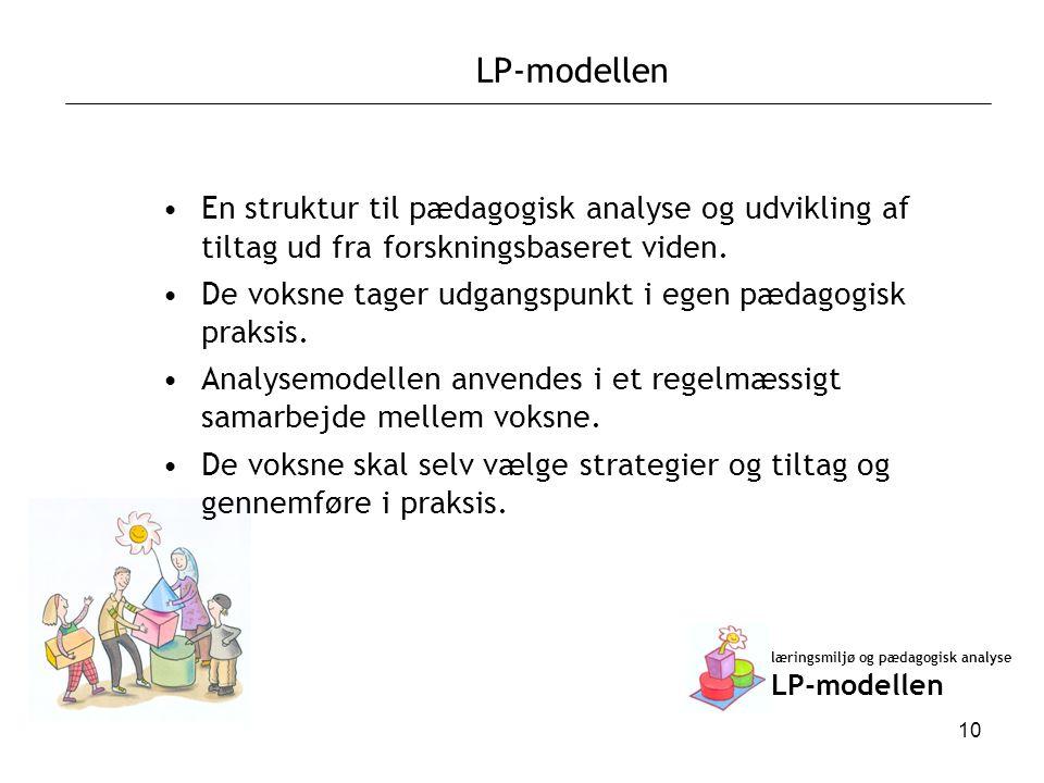LP-modellen En struktur til pædagogisk analyse og udvikling af tiltag ud fra forskningsbaseret viden.
