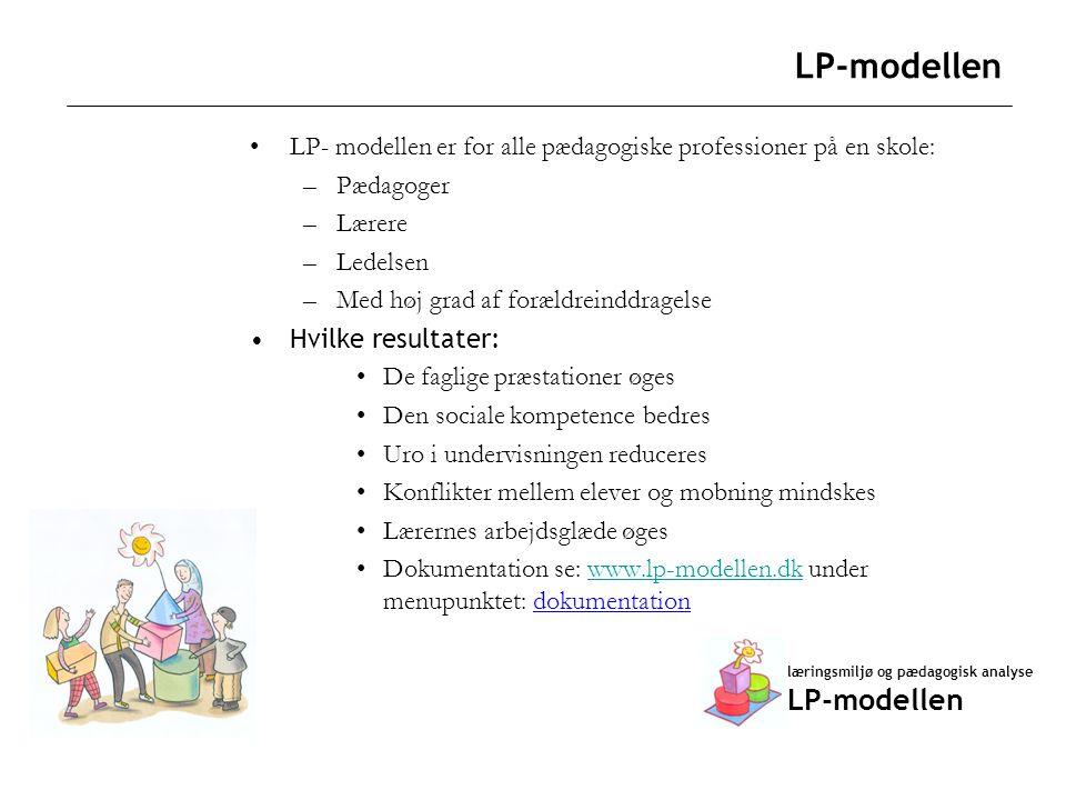 LP-modellen LP- modellen er for alle pædagogiske professioner på en skole: Pædagoger. Lærere. Ledelsen.