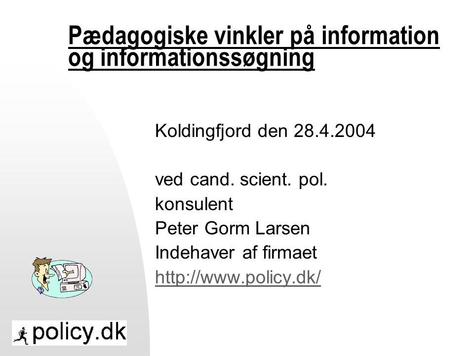 Pædagogiske vinkler på information og informationssøgning