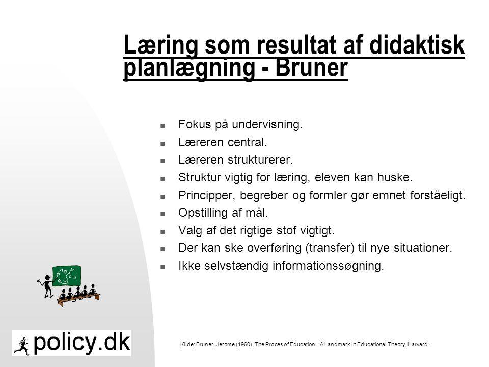 Læring som resultat af didaktisk planlægning - Bruner