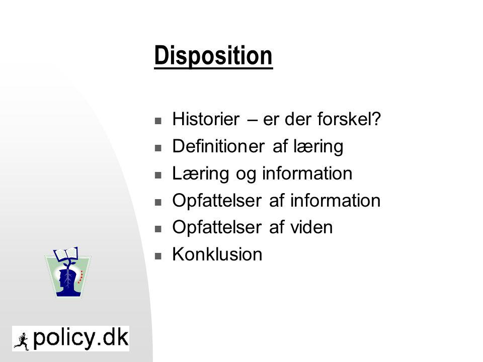 Disposition Historier – er der forskel Definitioner af læring