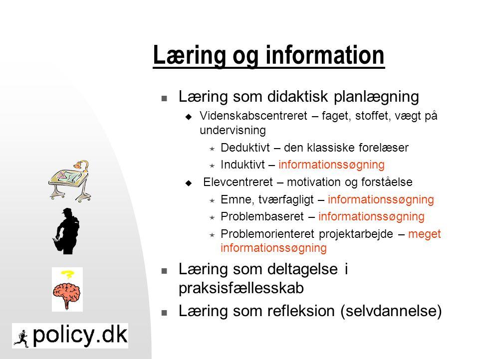 Læring og information Læring som didaktisk planlægning