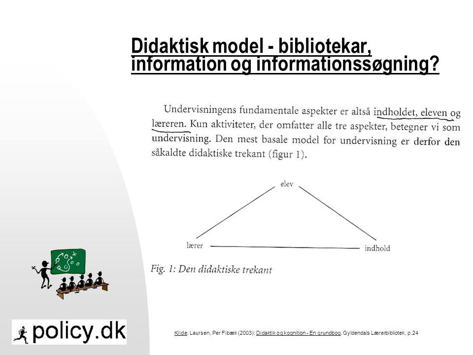 Didaktisk model - bibliotekar, information og informationssøgning