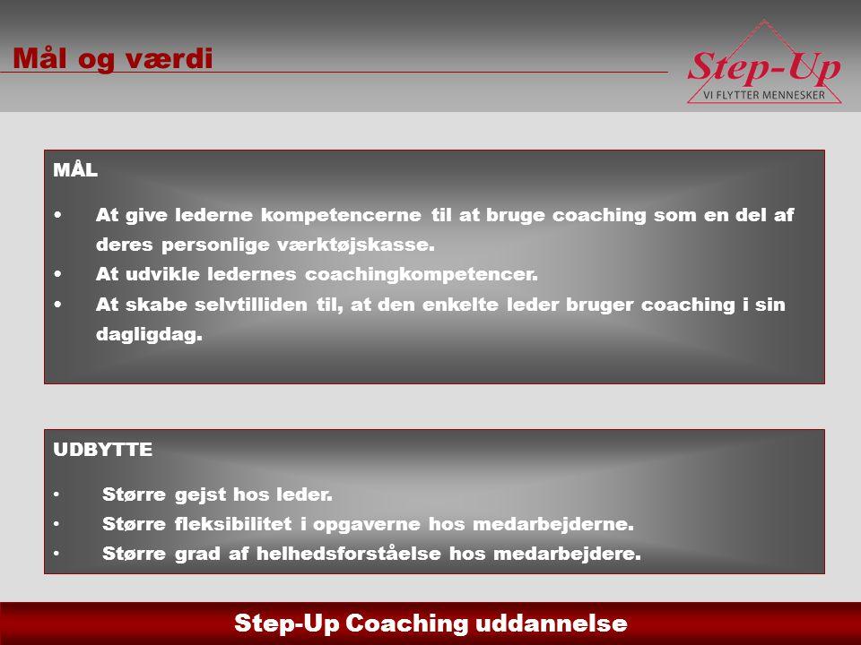 Mål og værdi MÅL. At give lederne kompetencerne til at bruge coaching som en del af deres personlige værktøjskasse.