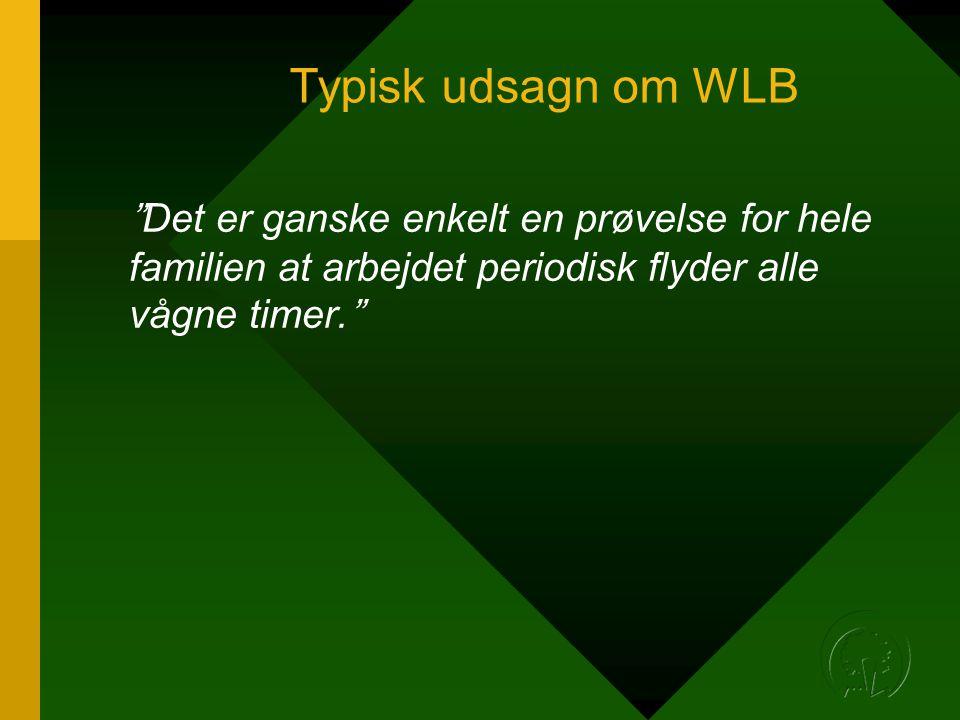 Typisk udsagn om WLB Det er ganske enkelt en prøvelse for hele familien at arbejdet periodisk flyder alle vågne timer.