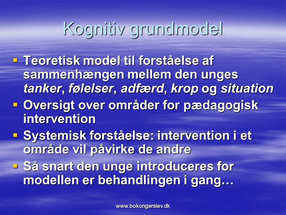 Kognitiv grundmodel Teoretisk model til forståelse af sammenhængen mellem den unges tanker, følelser, adfærd, krop og situation.