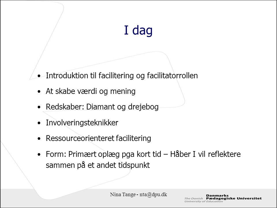 I dag Introduktion til facilitering og facilitatorrollen