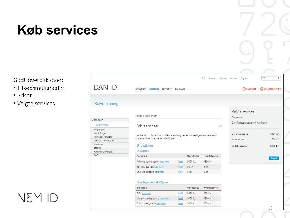 Køb services Godt overblik over: Tilkøbsmuligheder Priser