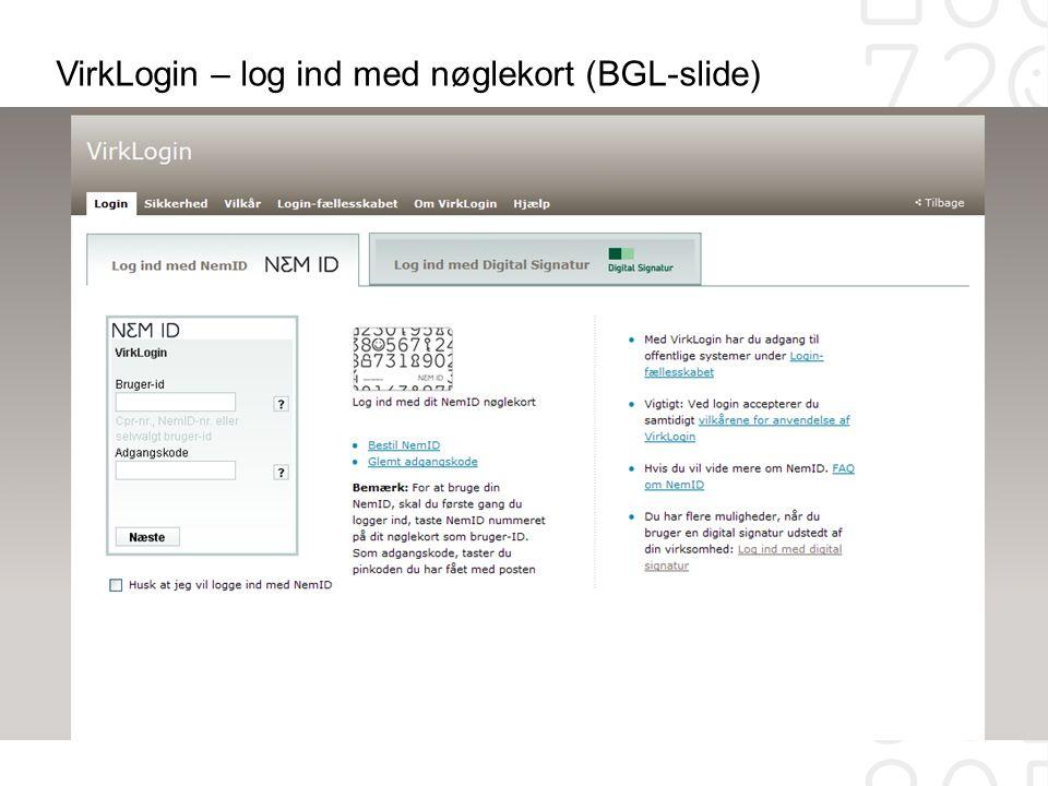 VirkLogin – log ind med nøglekort (BGL-slide)