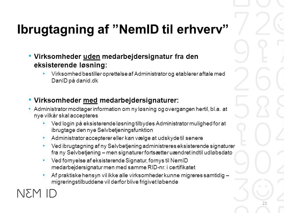 Ibrugtagning af NemID til erhverv