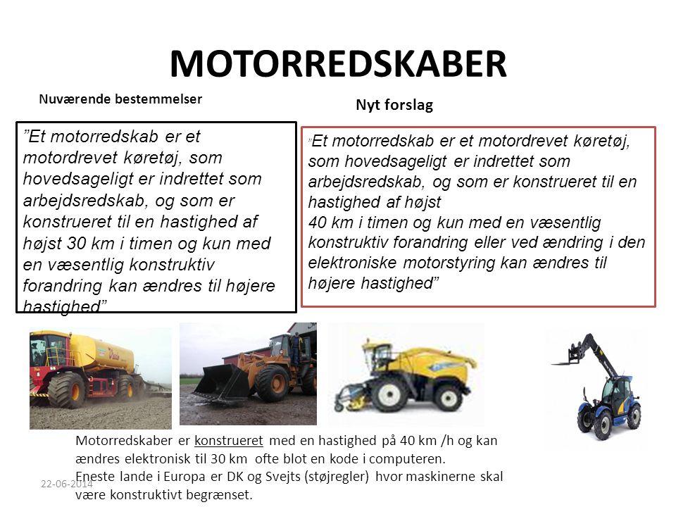MOTORREDSKABER Nuværende bestemmelser. Nyt forslag.