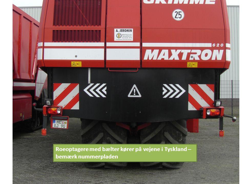 Roeoptagere med bælter kører på vejene i Tyskland – bemærk nummerpladen