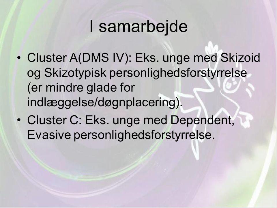I samarbejde Cluster A(DMS IV): Eks. unge med Skizoid og Skizotypisk personlighedsforstyrrelse (er mindre glade for indlæggelse/døgnplacering).