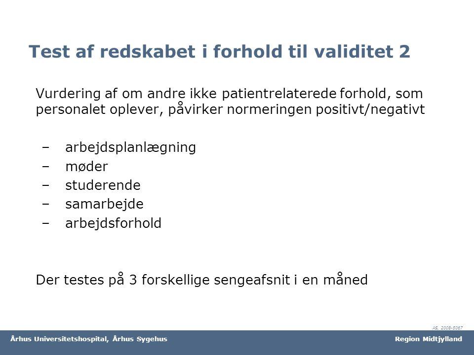 Test af redskabet i forhold til validitet 2