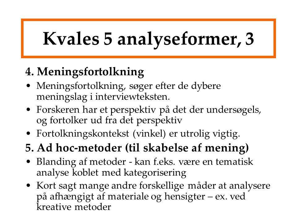 Kvales 5 analyseformer, 3 4. Meningsfortolkning