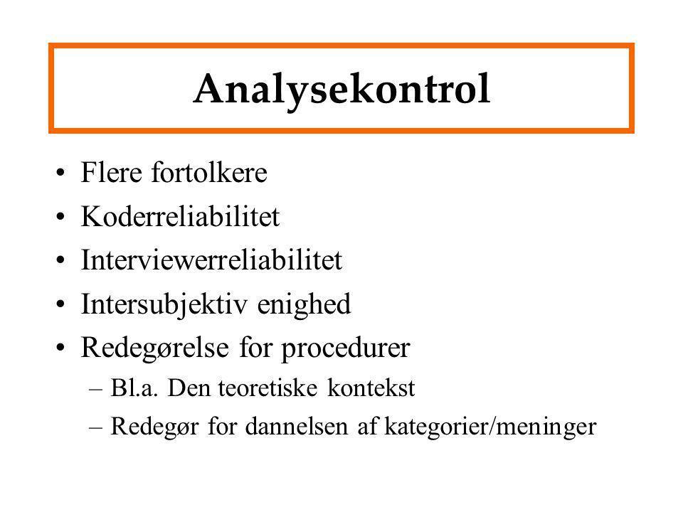 Analysekontrol Flere fortolkere Koderreliabilitet