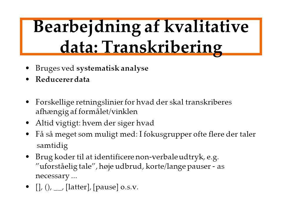 Bearbejdning af kvalitative data: Transkribering