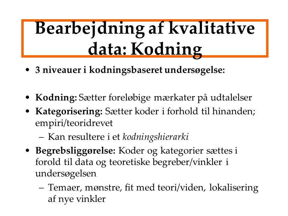 Bearbejdning af kvalitative data: Kodning