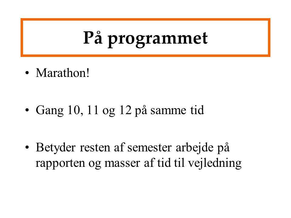 På programmet Marathon! Gang 10, 11 og 12 på samme tid