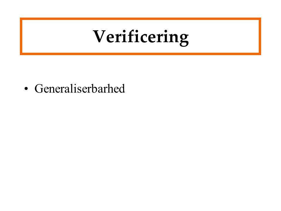 Verificering Generaliserbarhed