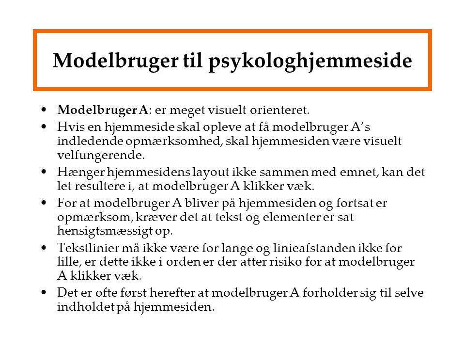 Modelbruger til psykologhjemmeside