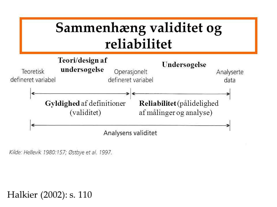 Sammenhæng validitet og reliabilitet