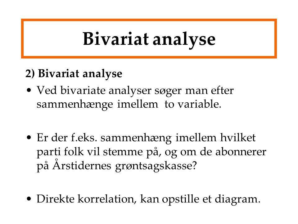 Bivariat analyse 2) Bivariat analyse