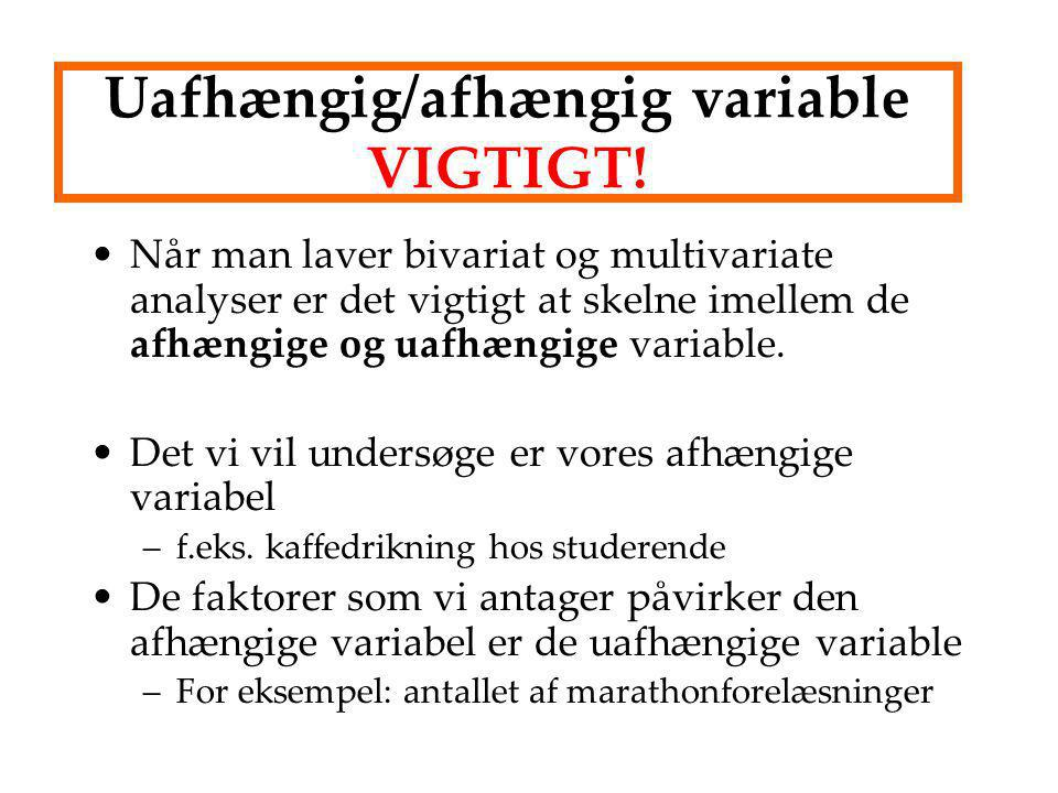 Uafhængig/afhængig variable
